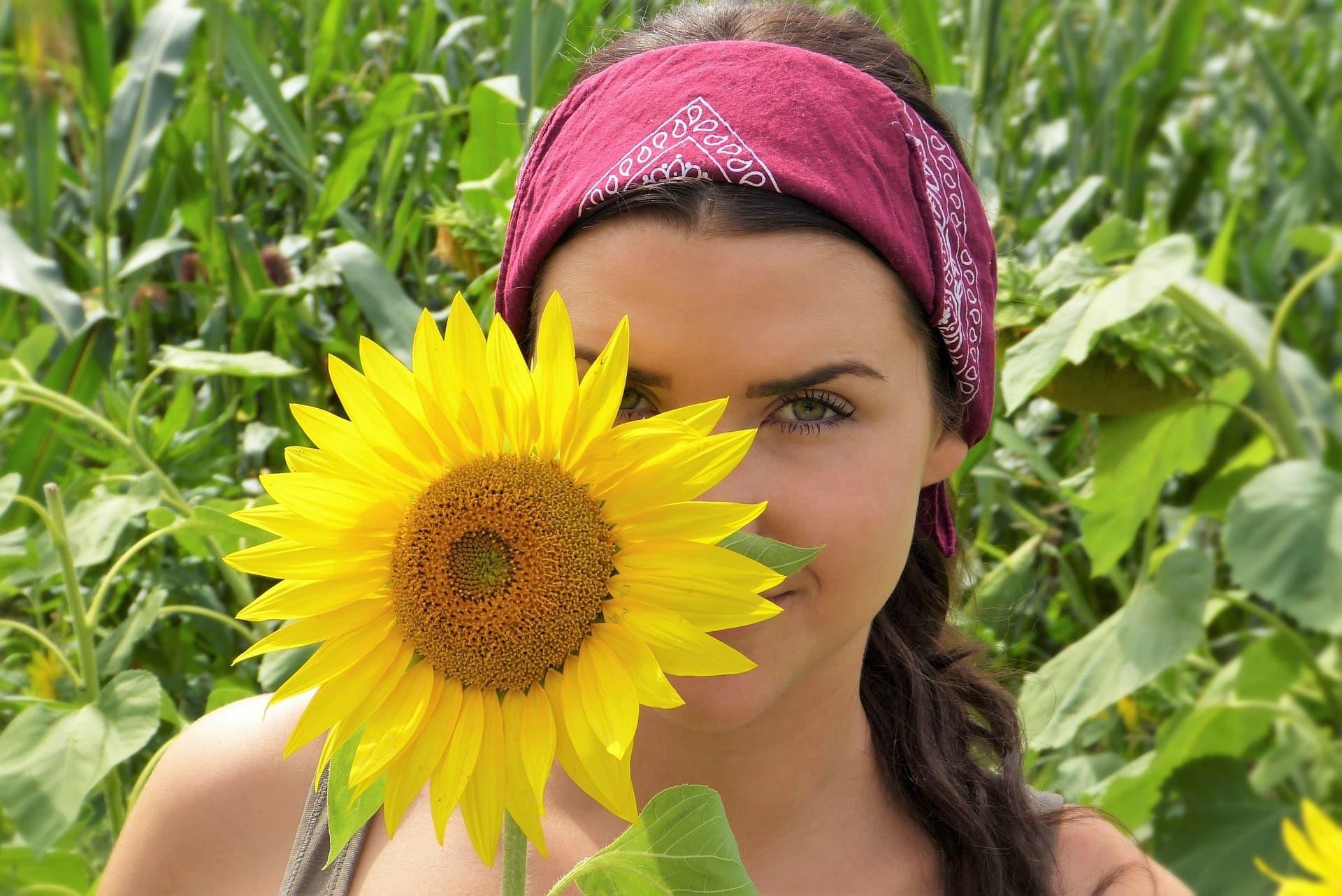 Sonnenblume Frau Auszeit Coaching